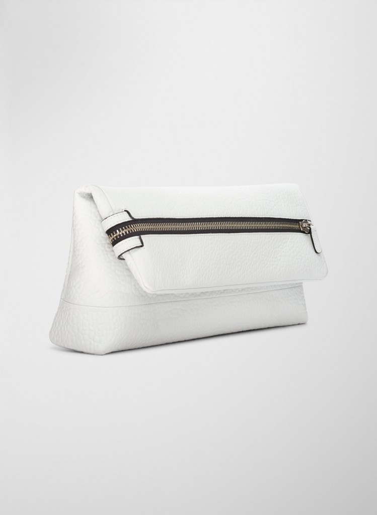 figtny.com | Aritzia Six Eleven White Fold-over Clutch