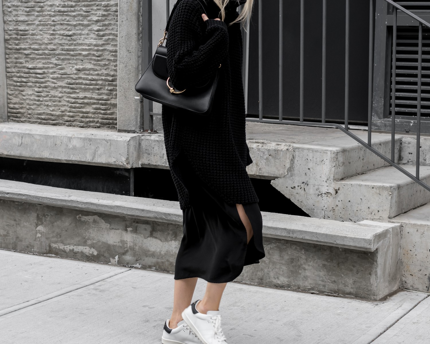 figtny.com | Slit Skirts + Sweaters + Sneakers