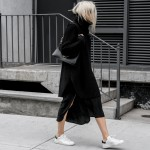 Slit Skirts + Sweaters + Sneakers